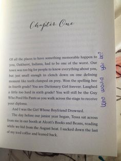 Writing in the margins for THE START OF YOU AND ME! I love the layout of this top of chapter page - I also love writing in the margins :-) Daily Five, Girl Scout Troop, Everything About You, Chapter One, First Names, Troops, You And I, Books To Read, How To Memorize Things