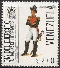 Venezuela Stamp 1988 - Uniforme de Gala de Simón Bolívar, 1828. Estampilla conmemorativa con motivo del Día del Ejército de 1988.
