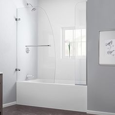 DreamLine SHDR-3534586-EX-01  Aqua Uno 56 to 60-Inch W x 58-Inch H Hinged Tub Door, Chrome Finish Hardware DreamLine