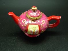Porcelain Teapot Shape Hinged Lid Trinket Box Hand Painted Red Pink Gold