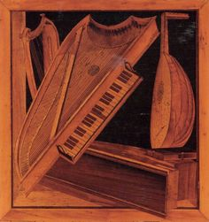 MOLA, Antonio and Paolo: Musical instruments, c. 1505, Wood intarsia, Palazzo Ducale, Mantua