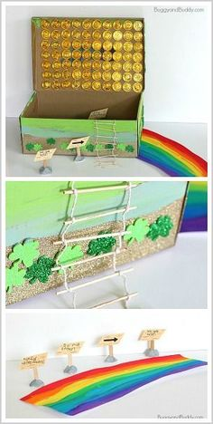 How to Make a Leprechaun Trap with a shoebox- Design and build a leprechaun trap for St. Patrick's Day with a toothpick ladder, gold coins, paint, and a cardboard rainbow. St Patricks Day Crafts For Kids, St Patrick's Day Crafts, Fun Crafts, Holiday Activities, Activities For Kids, Steam Activities, Creative Activities, School Projects, Projects For Kids