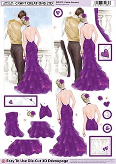 Craft Creations Die Cut Decoupage Purple Romance