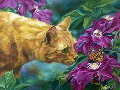 LUCIE BILODEAU  ~ curious cat & Monarch butterfly
