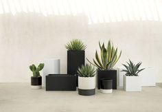 blox medium square galvanized hi-gloss white planter