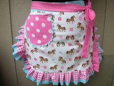 Apron - Womens Half Apron - Horse Apron - A Girl and Her Horse - Apron - Western Apron. $28.95, via Etsy.