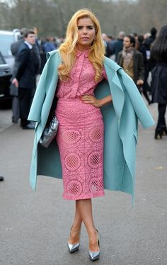 Paloma Faith / pink lace midi dress / ice blue coat