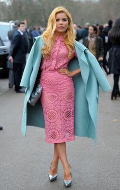 Paloma Faith / pink lace midi dress / ice blue coat