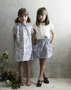 frances beach skirt in indigo washed linen