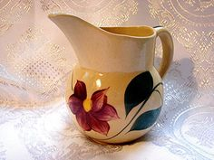 Vintage 1950's Watt Pottery Cherry Pitcher 15 Yellow Ware for your Country Kitchen, view on Etsy by TreasuresPast4U