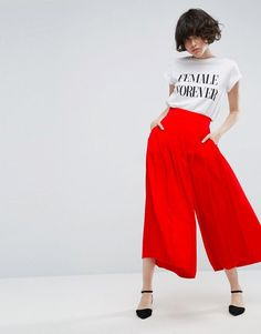 ASOS Tailored Uber Wide Leg Culottes - Red