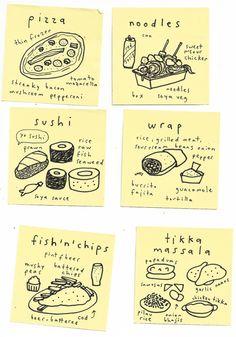 brit menus post its mercedes leon illustration