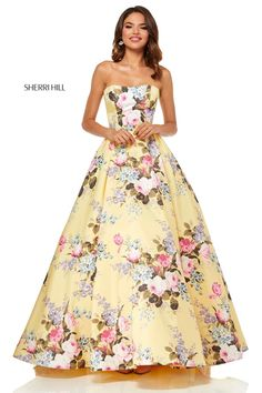 ed63e9100a8 Check out the deal on Sherri Hill 52553 Strapless Floral Prom Dress at French  Novelty Ball