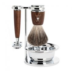 Shaving set of MÜHLE, pure badger, with safety razor, handle material made of steamed ash