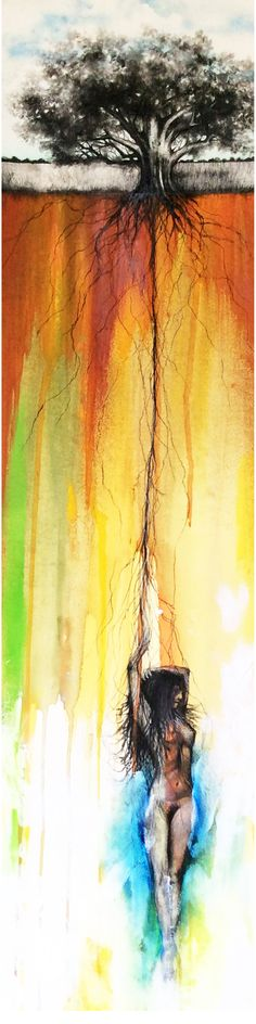 "Rooted Ground Seduction I  8.25"" x 32.5""   Mixed Media on watercolor paper"
