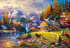 1.000 Teile Puzzle Spiel Deutsch 2012 Country Living Thomas Kinkade