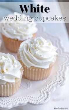 white wedding cakes White cupcakes that taste like wedding cake. Perfect for birthdays, gender reveals, and weddings. Wedding Cupcake Recipes, White Cupcake Recipes, White Wedding Cupcakes, White Cupcakes, Dessert Recipes, Desserts, Wedding White, White Weddings, Almond Cupcakes