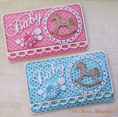 Baby Boy/Girl Card Blue or Pink Money Holder by DidiLandCrafts Marianne Design