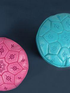 colour pop! Moroccan Pouffe, Colour Pop, Color, Hippie Bohemian, Tile Design, Ottoman, Sweet Home, Interior, Leather