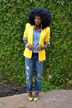 Style Pantry | Yellow Vintage Blazer + Denim Shirt + BF Jeans