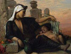 フリー絵画 アンナ・マリア・エリザベス・ジェリショー作「エジプトの農民の母子」
