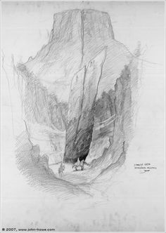 Dimholt Glen by John Howe (concept for The LotR movie)