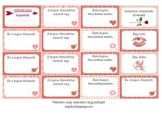 NB szerelem kuponok Valentine Day Crafts, Happy Valentines Day, Cute Presents, Home Management Binder, First Anniversary, Baby Girl Headbands, Present Gift, Bridal Shower Games, Love Gifts