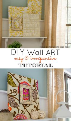 DIY fabric wall art tutorial. An inexpensive way to recover items around your home and turn them into one of a kind wall art pieces. Four Generations One Roof