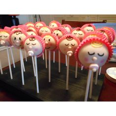 """Customer submitted photo: """"Baby Shower Cake Pops!"""" - Suzanne B. from Dancing Cats Cafe #cute #cakepops"""
