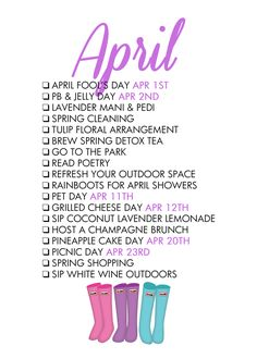 Paper & Glam - April Life List