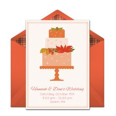 We absolutely love this free party invitation with a beautiful fall-inspired design. It's a wonderful way to invite guests to a beautiful birthday party, wedding, bridal shower, and more. Easily personalize and send via email.