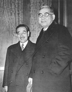 """Japanese envoys Kurusu and Nomura leaving """"peace talks"""" with Secretary of State Cordell Hull,  just 17 days before the bombing of Pearl Harbor  Wide World"""