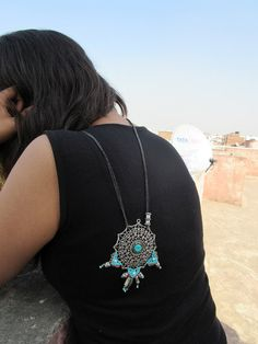 Oxidised metal turquoise macrame mandala long chain by Narmadaa