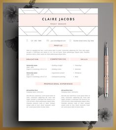 resume template cv template editable in ms word and pages instant digital download - Resume Templates For Mac Pages