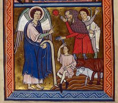Annunciation to the Shepherds from Psalter, 1st quarter of the 13th Century, Oxford, England