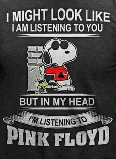 I might look like I am listening to you but in my head I'm listening pink floyd Music Humor, Music Quotes, Music Lyrics, Funny Music, Music Music, Snoopy Love, Snoopy And Woodstock, Funny Baby Memes, Funny Babies
