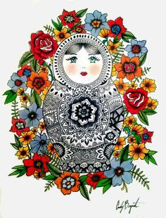 Buy Prints of Matryoshka, a Paper on Paper by Cady Bogart from United States. It portrays: Abstract, relevant to: woman, colorful, detail, flowers, matryoshka, Russian doll, lines Detailed Russian nesting doll surrounded by flowers, pen and watercolor done on paper.