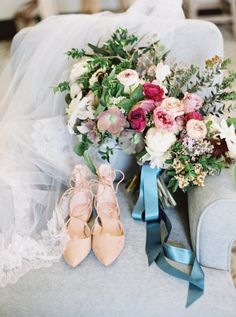 Get ready for your big day with your beautiful wedding bouquet and nude lace-up shoes: http://www.stylemepretty.com/2016/12/28/a-wedding-that-fully-embraces-spring/ Photography: Lauren Fair - http://laurenfairphotography.com/