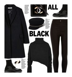 """""""Monochrome: All Black Everything"""" by beebeely-look ❤ liked on Polyvore featuring MANGO, River Island, Ann Demeulemeester, Chanel, StreetStyle, allblack and streetwear"""