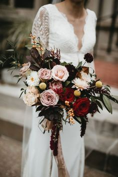 Floral Wedding Cakes This lush bouquet is filled with pink roses with pops of red and yellow Spring Wedding Bouquets, Red Bouquet Wedding, Fall Bouquets, Fall Wedding Flowers, Bride Bouquets, Bridal Flowers, Floral Wedding, Bouquet Flowers, Magenta Wedding