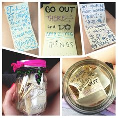 Here is an original DIY. I made this for my best friend who is going to governor's school all summer. She will be there for 35 days so I wrote her 35 little quotes and notes for her to pick out of the mason jar and read everyday. She loved it and it was super easy!