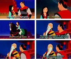 One of the best parts of Mulan! The elderly man telling the young, clueless kid not to let the girl go, because he isn't going to find another like her! Funny Disney Memes, Disney Jokes, Disney Fun, Disney Magic, Walt Disney, Disney Time, Punk Disney, Disney Facts, Disney Stuff