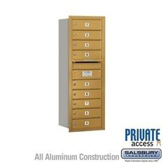 4C Horizontal Mailbox - 11 Door High Unit (41 Inches) - Single Column - 9 MB1 Doors - Gold - Rear Loading - Private Access by Salsbury Industries. $472.50. 4C Horizontal Mailbox - 11 Door High Unit (41 Inches) - Single Column - 9 MB1 Doors - Gold - Rear Loading - Private Access - Salsbury Industries - 820996452672. Save 10%!