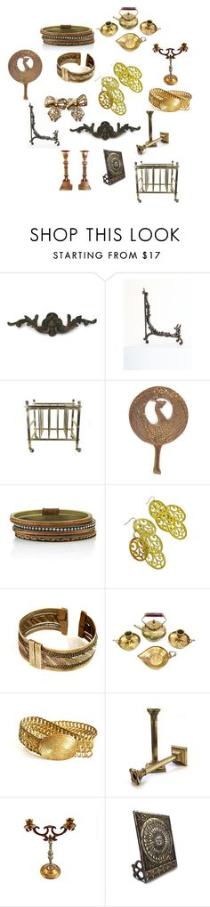 """""""Brassy"""" by patack ❤ liked on Polyvore featuring interior, interiors, interior design, home, home decor, interior decorating, EASEL, 1928 and vintage"""