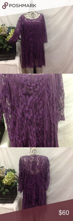 NWT 3X Plum Lace Stunning Dress New with tags. Size 3X. By CoColor. Separate slip liner. Plum Lace. No flaws. Free gift. Dresses Midi