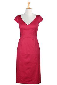 I <3 this Scallop trim cotton sateen sheath dress from eShakti