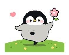LINE Creators' Stickers - Baby of a gentle penguin(love ver.) Example with GIF Animation Cute Animal Drawings, Kawaii Drawings, Cute Drawings, Cute Cartoon Animals, Cute Animals, Hug Gif, Pusheen Cute, Chibi Cat, Cute Love Gif