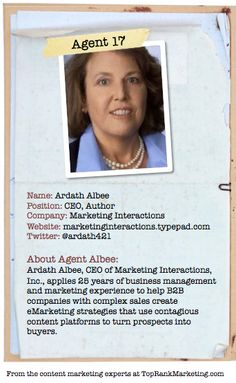 Bio for Secret Agent #17 @ardath421  to see her content marketing secret visit tprk.us/cmsecrets