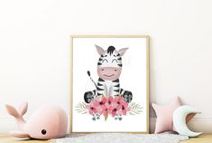 Large Paper Flowers, Safari Animals, Watercolor Flowers, Wall Art Prints, Africa, Nursery, Cute, Baby Room, Kawaii