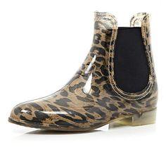 Brown leopard print chelsea boot wellies  £20.00